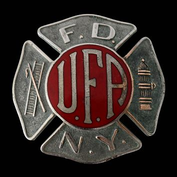Vintage FDNY UFA Enamel Firefighter Hat Badge c1930s EXCELLENT New York Fire Collectible