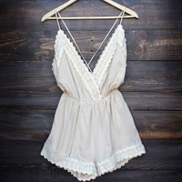 boho lace romper in sand