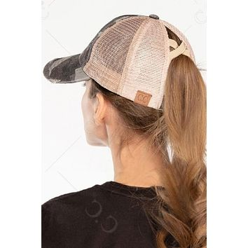 C.C. Brand Criss Cross Pony Tail Hat (Choose Your Color)