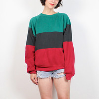 Vintage 90s Sweatshirt Black Green Red Boyfriend Sweater Soft Grunge Sporty Pullover Slouch Fit Jumper 1990s Sweater Top L Extra Large XL