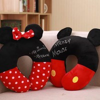 Cute Soft Plush Cartoon Anime Character mickey/minnie Head Neck Pillow U Shape, creative portable confortable car traveling gift