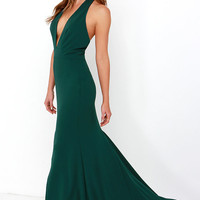 Rest is Unwritten Forest Green Halter Maxi Dress