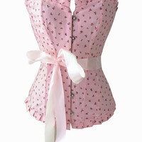 Body Waist Shaper Sexy Lovely Pink Floral Pattern Corset [4965309316]