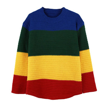 Yellow Color Block Loose Pullover Sweater