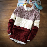 2016 winter pullover sweater brand knitting long sleeve O-neck Slim Korean fashion clothes men sweater MY13