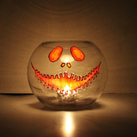 Jack O Lantern Halloween Glass Candle Holder Bowl