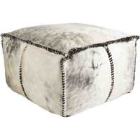 Ranger Cowhide Pouf ~ Medium Gray/White