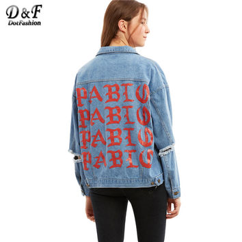 Dotfashion Blue Letter Print Ripped Denim Coat Women Long Sleeve Lapel Twin Pockets Single Breasted Jacket