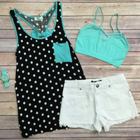 Polka Dot Bow Back Tank