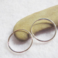 16 mm Sterling Silver 92.5% Hinged Round Hoop Earrings / Body Piercing Jewelry Cartilage Nose Lip Ring Sensitive Ears Gift Under 10