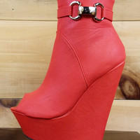 """India Open Toe Platform Wedge Ankle Boot Shoes Coral Orange - 6.5"""" heels"""
