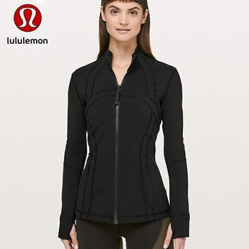 Lululemon Fashion Zipper Embroidery Hooded Cardigan Jacket Coat