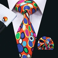 New Arrival Fashion Colorful Cotton Ties For Men High Quality Necktie Hanky Cuff links Set For Wedding Party