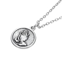 Vintage Fashion Praying Hands Zinc Alloy Necklace