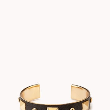FOREVER 21 Standout Studded Cuff Black/Gold One