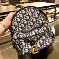 Dior 2019 new high quality embroidery knit canvas backpack