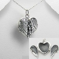 Exceptional Quality.925 Sterling Silver Beautiful Locket Pendant Wings Guardian Angel Wing Heart Shape Design Detailed Locket Prayer Box Pendant