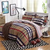 New 4/3pcs Bedding Set Queen Size Classic Plaid Duvet Cover Sets Bed Sheets Adults Kids Bedroom Bedlinen Dropship Juegos de Cama