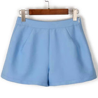 Light Blue High Waist Mini Shorts