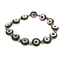 Evil Eye with Rainbow Beads Stretch Bracelet