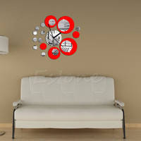 1set Circles Acrylic Mirror Style Wall Clock Removable Decal Art Sticker Decor Black Home Inside Decoration Wall Sticker