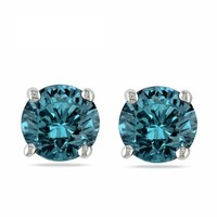 1/5 ct. Blue - Round Brilliant Cut Diamond Earring Studs in 14K White Gold