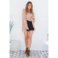 Feeling Warm Crop Top And Cardigan Set (Frosted Rose)