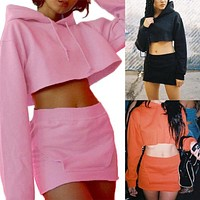 Hot Women Clothes Set Tracksuits Long Sleeve Hooded Crop Sweatshirt 2 Pcs Set Solid Suit Pajamas