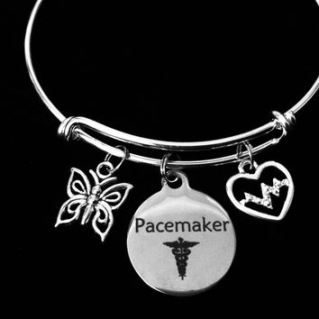 Pacemaker Medical Alert Jewelry Expandable Charm Bracelet Crystal Heartbeat Adjustable Bangle Butterfly One Size Fits All Gift