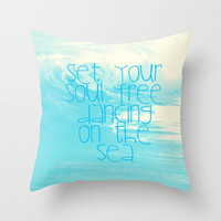 Dancing On The Sea Throw Pillow by Ally Coxon | Society6