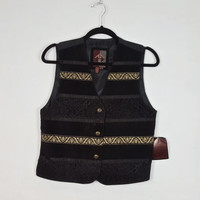 M Vintage Suede Leather Vest Black Stripe Gold Brocade Satin, 90s Style Vest, Button Down Vest, NOS with Tags, Vintage Deadstock with Tags