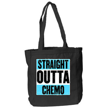 Straight Outta Chemo Tote Bag (Light Blue Background)