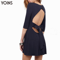 YOINS 2016 Spring New Arrival Cut Out Back Skater Dress Fashion Bow Tie Waist Women Mini Dress Sexy Party Night Club Dresses