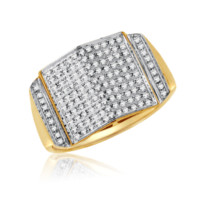 Gold 0.26 Cttw Diamond Micropave Mens Ring