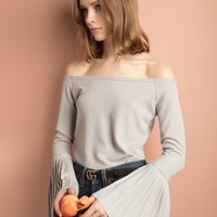 Light Grey Pleated Bell Sleeve Cold Shoulder Top