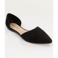 Women Fashion Designer Inspired Pointy Toe D'orsay Flat BLACK