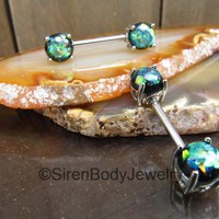 Opal nipple jewelry set green opals nipple piercing barbells gemstone piercing jewelry rings