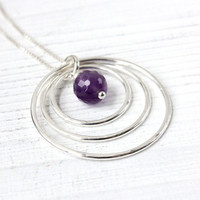Amethyst necklace, Sterling silver eternity necklace, 30th birthday gift for her, February birthstone infinity necklace, 3 circle jewelry