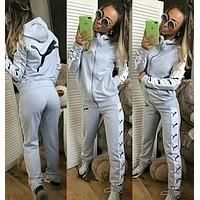 PUMA Popular Women Casual Print Long Sleeve Hoodie Jacket Coat Pants Trousers Two-Piece Grey