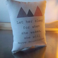 Girl pillow mountain cushion newborn girl gift