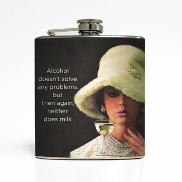 Women Alcohol Flask Alcohol Doesn't Solve Problems Liquid Courage Ephemera Adult Birthday Gift Stainless Steel 6 oz Liquor Hip Flask LC-1448
