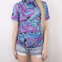 Vintage Abstract Cool Blues Blouse