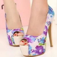 Flora Print High Heels with Peep Toe Design Blue from topsales