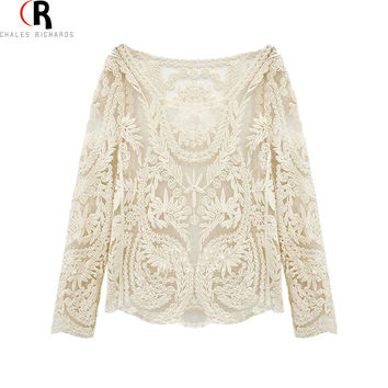 Candy Colors Crochet Lace Embroidery Long Sleeves Loose Tunic Blouse Top with Mesh 2016