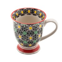 Tapered Mug with yellow and black pattern