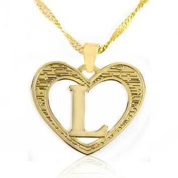Beautiful Initial Heart Pendant Necklace 24k Gold Plated Personalized Charm Choose Your Letter