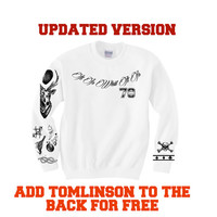 Louis Tomlinson Updated ! Tattoos -  SALE Ultra soft crewneck sweatshirt  ! sweater jumper fast processing ! 1D one direction