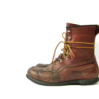 Vintage Work Boots Brown Leather Field & Stream Boots Distressed Lace Up Construction Boots Moc Toe Farmer Boots Rugged Mens Size 9
