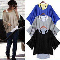 Women Lady Fashion Western Batwing Sleeve Oversized Loose T-shirt TOP Shirt With Vest = 1946339908