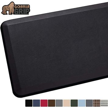 """GORILLA GRIP Original Premium Anti-Fatigue Runner Comfort Mat, 70x24, Phthalate Free, Ergonomically Engineered, Extra Support and Thick, Kitchen, Laundry, and Office Standing Desk, Black 70"""" x 24"""" x 3/4"""""""
